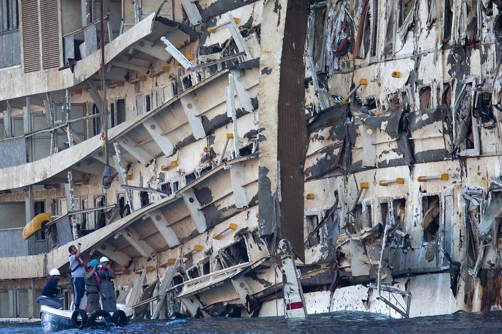 The ship is being dismantled in Genoa, where it was taken after two-year salvage operation