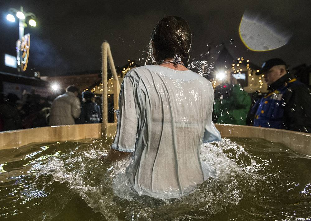 A mass baptism ceremony on Epiphany day in Moscow