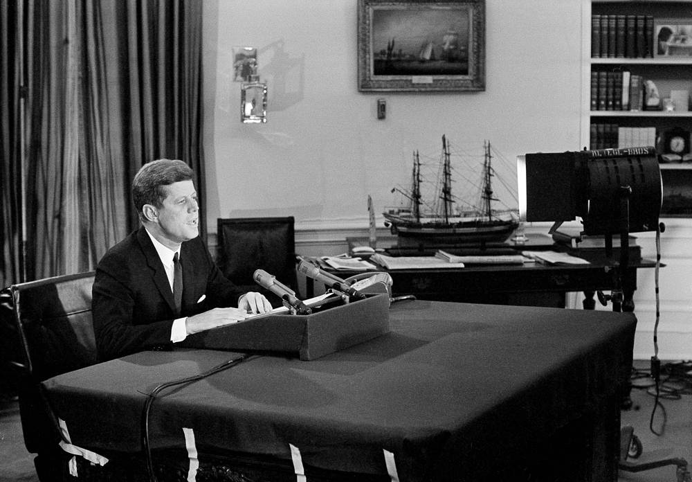 In October 1962 USA set up a naval blockade against Cuba. Photo: President John F. Kennedy telling the American people about a naval blockade against Cuba, during a television and radio address