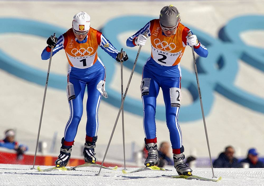 Russian cross country skiers Larissa Lazutina and Olga Danilova were banned from competitions for a period of 2 years due to a positive drug test results during the 2002 Winter Olympics in Salt Lake City. Danilova and Lazutina both lost their gold and silver medals. Photo: Russia's Olga Danilova and Larissa Lazutina at the Winter Olympics, 2002