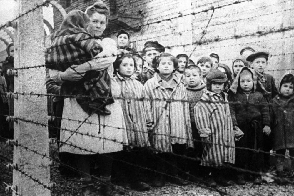 Children survived in Auschwitz-Birkenau concentration camp, after its liberation by Soviet forces on 27 January 1945
