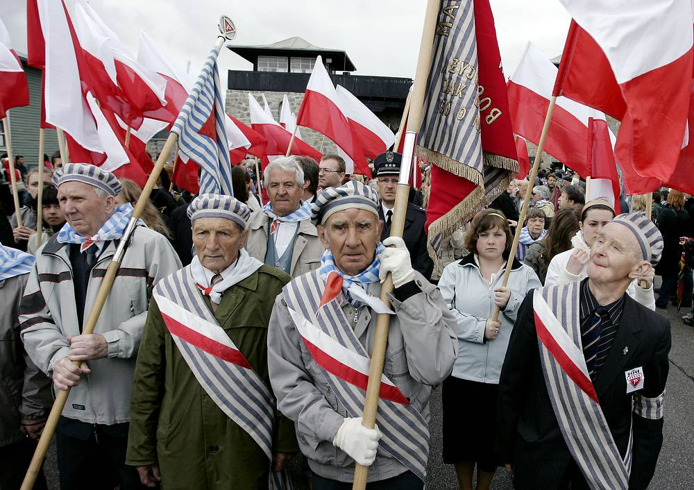 Polish survivors at a ceremony to commemorate the 62nd anniversary of the liberation of the Nazi concentration camp of Mauthausen, 2007, Austria. The concentration camp was liberated by US troops on May 5, 1945