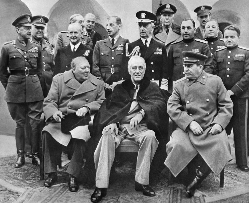British Prime Minister Winston Churchill, US President Franklin D. Roosevelt and Soviet Marshal Joseph Stalin before the conference at the Livadia Palace in Yalta