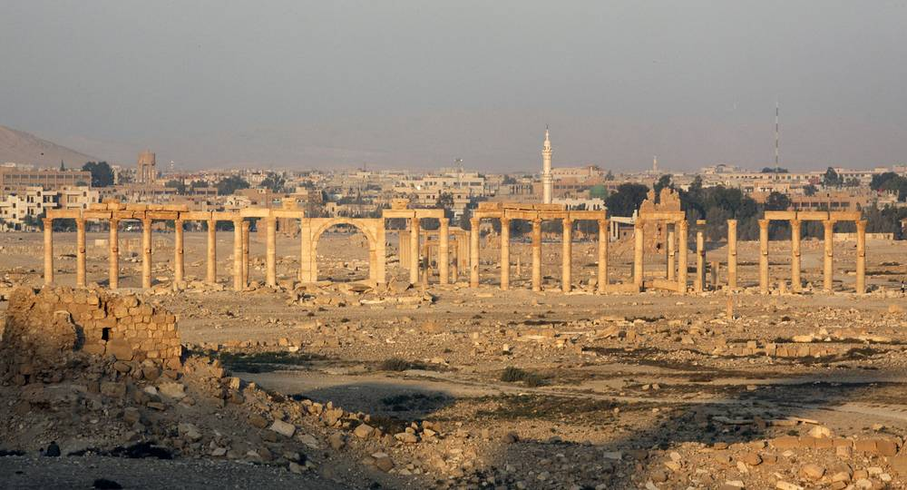 In December 2014 satellite monitoring of eighteen territories in Syria showed that considerable losses were inflicted on dozens of objects of cultural value. Photo: View of ancient city of Palmyra in central Syria, which is believed to be founded by King Solomon