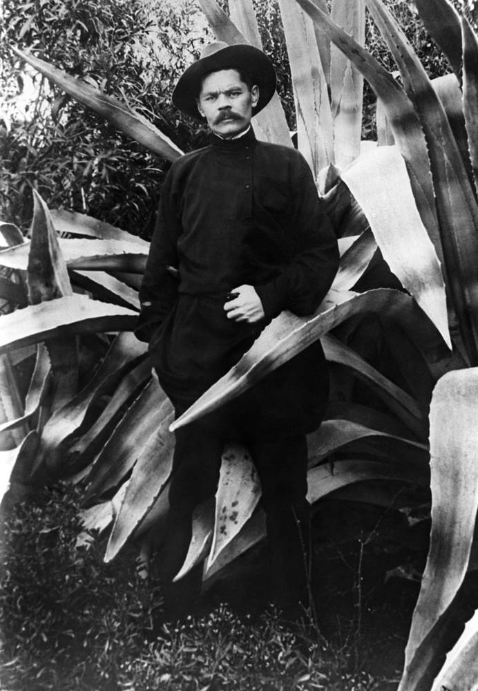 Russian short-story writer and novelist Maksim Gorky (1868-1936) on the island of Capri, 1907. The Lower Depths is perhaps Maxim Gorky's best-known play