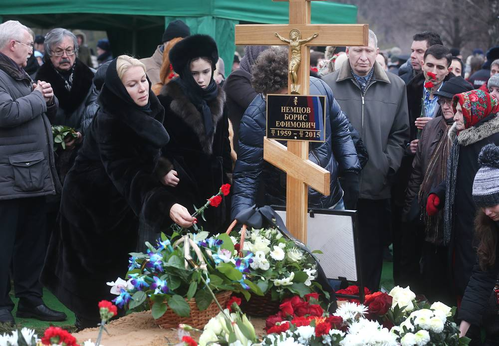 A funeral ceremony for Russian politician Boris Nemtsov at Moscow's Troyekurovskoye cemetery