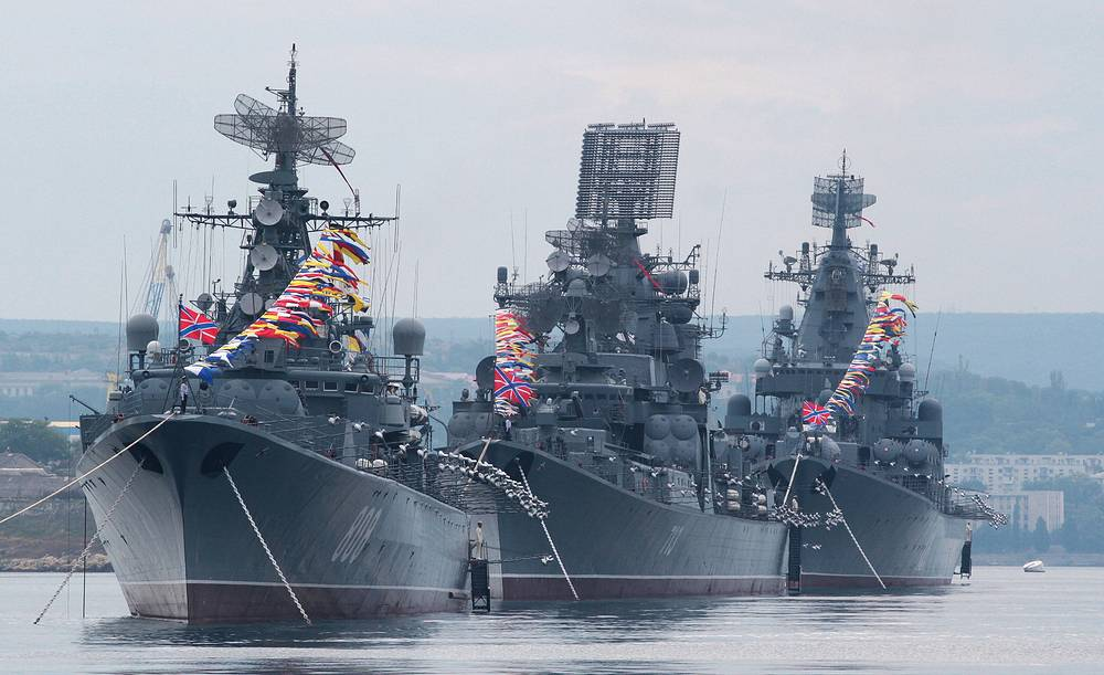 More than 86 billion rubles will be allocated on the development of the Russian fleet. Photo: Russian Black Sea Fleet during a rehearsal of naval parade for the Day of the Russian Navy in Sevastopol.