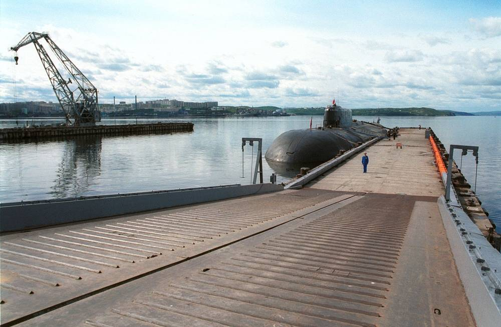The sub has been undergoing a major overhaul at the shipyard since November 2013. Photo: The Oryol nuclear submarine in 2001