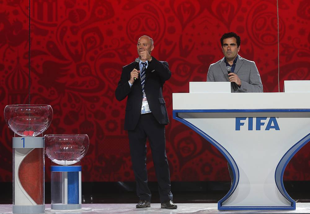 Christian Unger, the head of FIFA 2018 World Cup preparation department at rehearsal for the 2018 FIFA World Cup Preliminary Draw
