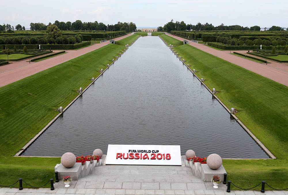 Russia selected 11 host cities to be the venues for the matches of the 2018 World Cup. Photo: Garden near the Konstantinovsky Palace in St.Petersburg, Russia