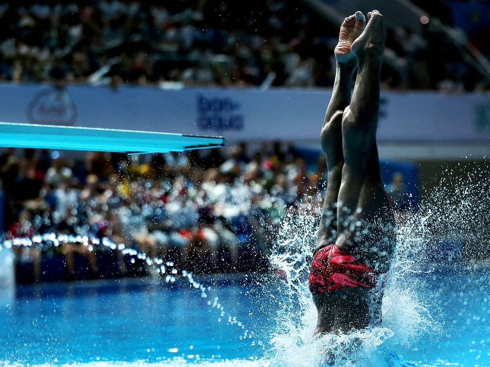 Mexico's diver Jahir A. Ocampo Marroquin competes during the men's 1m Springboard event, July 27