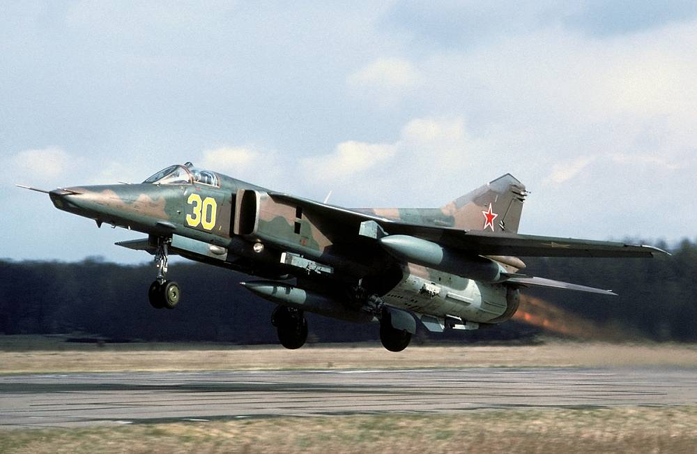 MiG-27, a variable-geometry ground-attack aircraft, was based on MiG-23 fighter aircraft, but optimized for air-to-ground attack. It was produced in 1970–86 and remained in service with the Soviet army till 1991