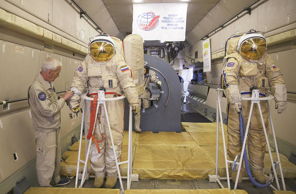 Space suits inside an IL-76 MDK flying laboratory of the Gagarin Cosmonaut Training Centre on display at MAKS 2015 International Air Show