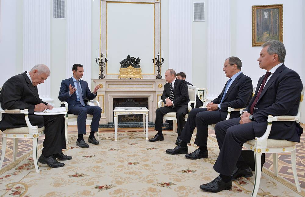 Syrian President Bashar Assad at a meeting with the representatives of the Russian leadership