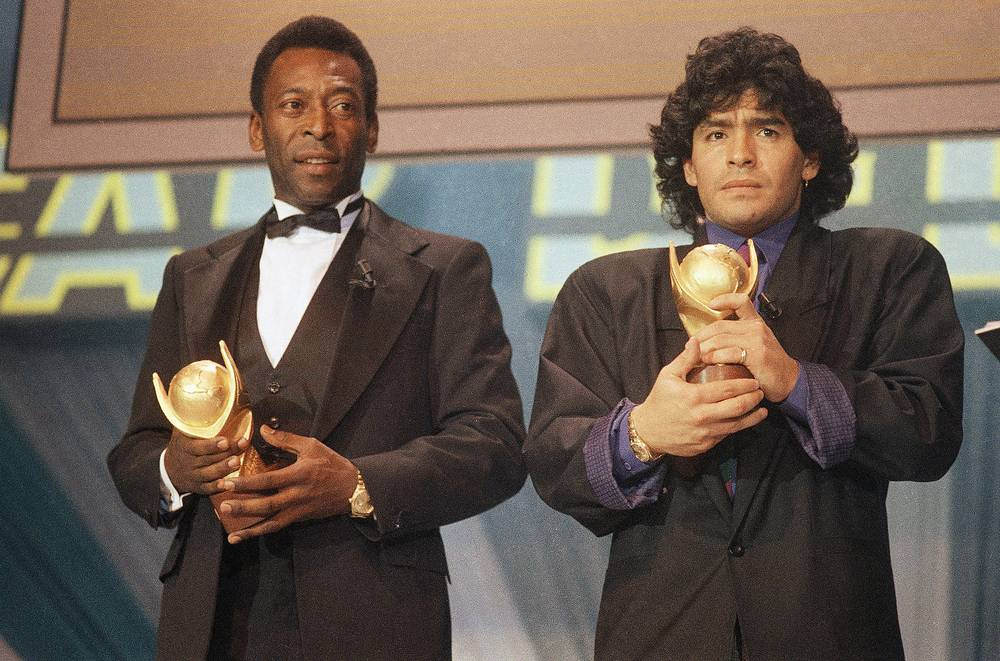"Pele and Maradona seen together in Italy in March 1987 as they received the trophy of ""Sports Oscar"" for their performance in the soccer fields"