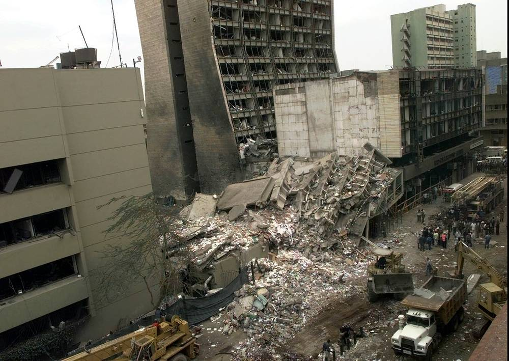 1998 United States embassy bombings. On August 7, 1998 explosions at the United States embassies in Dar es Salaam, Tanzania and in Nairobi, Kenya killed 224 people . Photo: United States Embassy and other damaged buildings in downtown Nairobi, Kenya, the day after terrorist attacks
