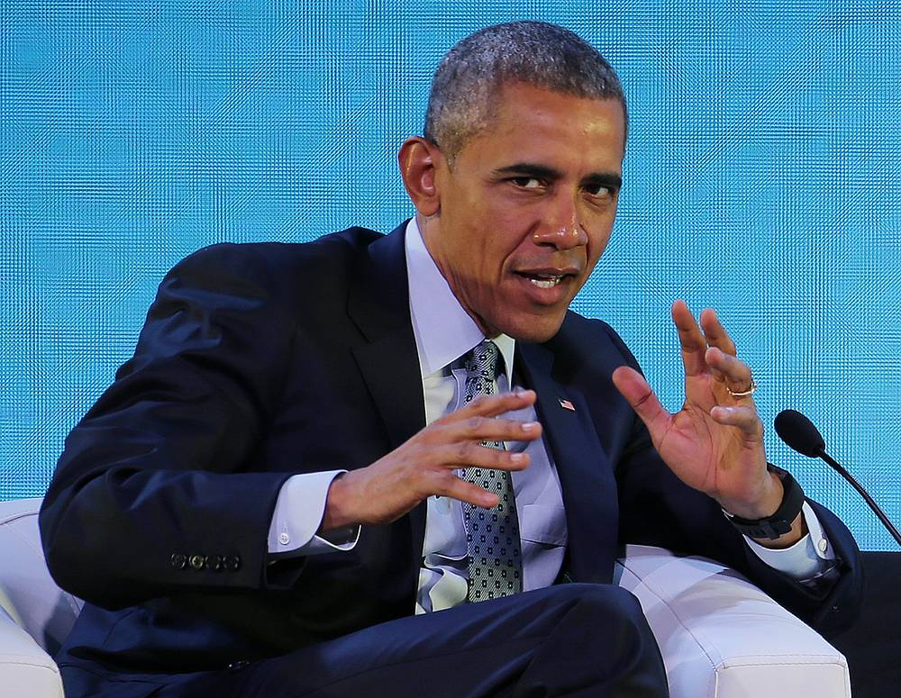 US President Barack Obama speaking during the 2015 APEC Summit