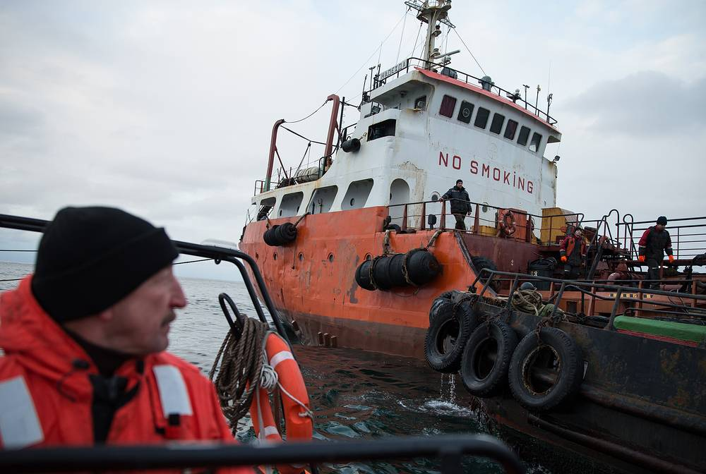Some 11 kilometres of coastline are contaminated after an oil spill from the Nadezhda tanker, carrying some 800 tonnes of oil products