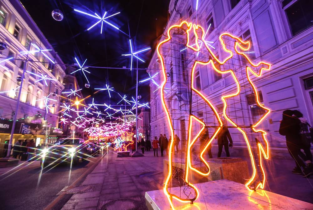 Light installations in Bolshaya Dmitrovka Street
