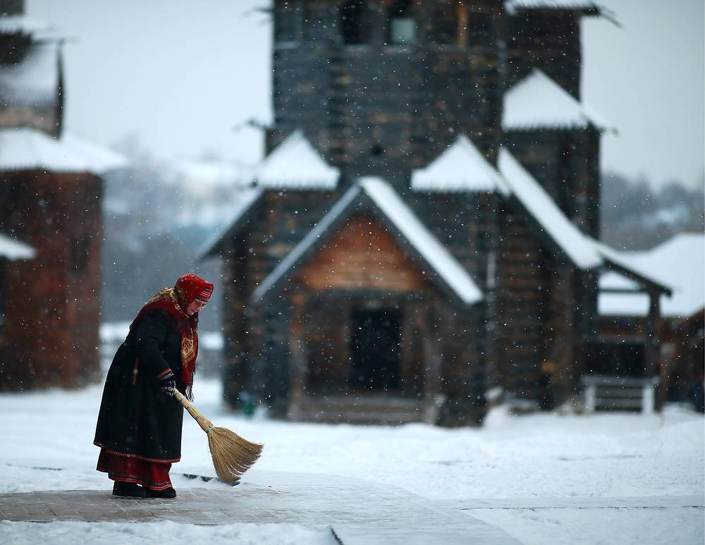 A woman in Russian traditional dress in the town of Suzdal, Vladimir Region