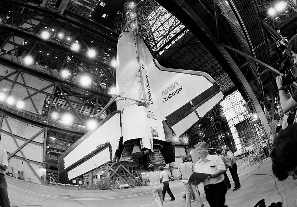 The space shuttle Challenger seen inside the Vehicle Assembly Building, April 10, 1985