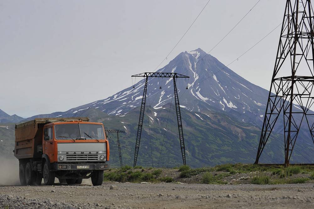 A Kamaz truck outside Mutnovskaya geothermal power plant, Far Eastern Kamchatka