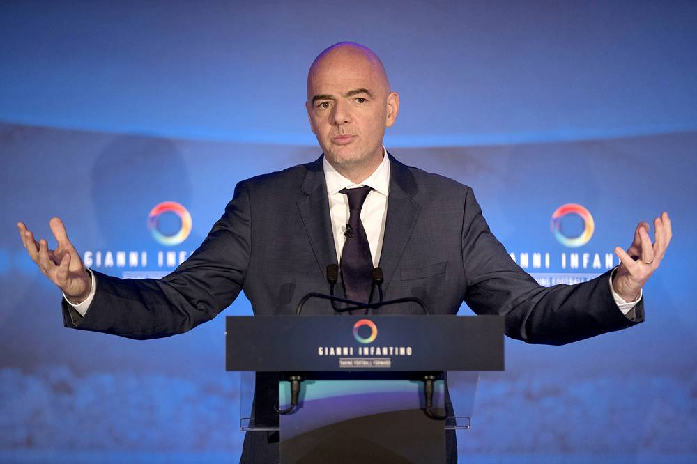 FIFA Presidential Candidate Gianni Infantino speaking to the media about his 90 day plan that he will implement if he is elected FIFA President, at Wembley Stadium in London