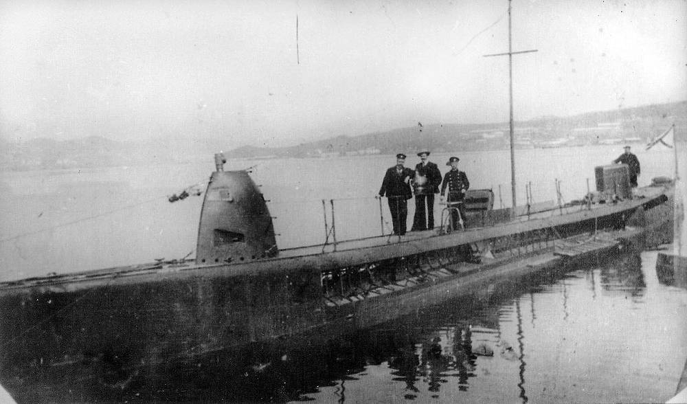 Kasatka submarine. Six boats of Kasatka-class were built by Baltic works St. Petersburg and launched in 1904