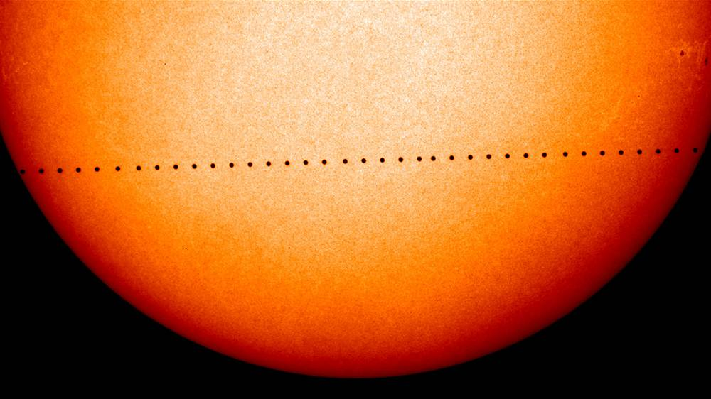Composite image of observations by NASA and the ESA's Solar and Heliospheric Observatory showing the path of Mercury during its November 2006 transit