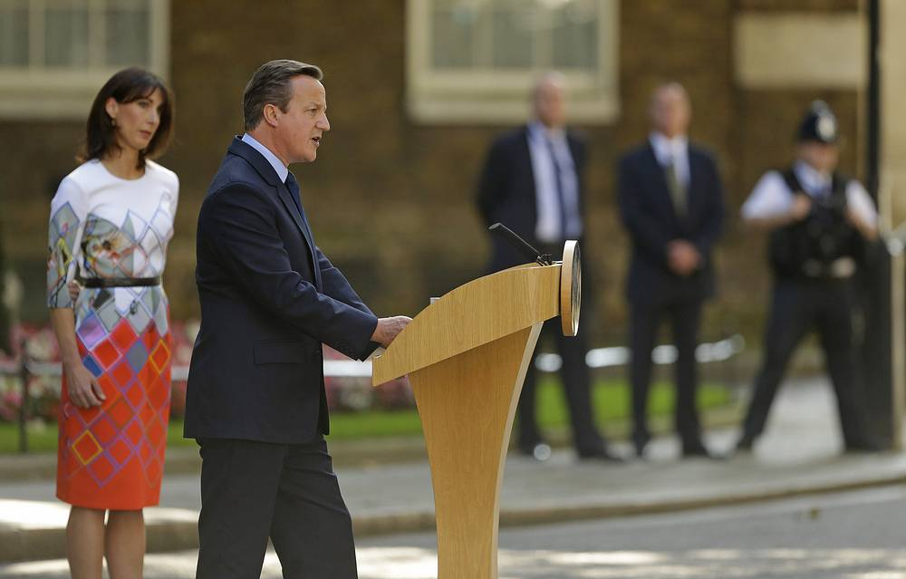 Britain's Prime Minister David Cameron speaking outside 10 Downing Street in London and announcing his resignation after Britain voted to leave the European Union
