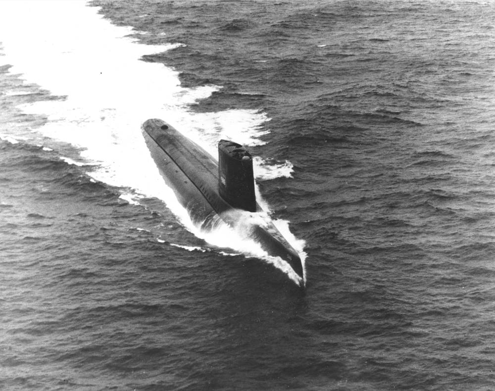 First underwater circumnavigation was performed by USS Triton in 1960. It took place between 24 February and 25 April 1960, 26,723 nautical miles (49,491 km) over 60 days and 21 hours