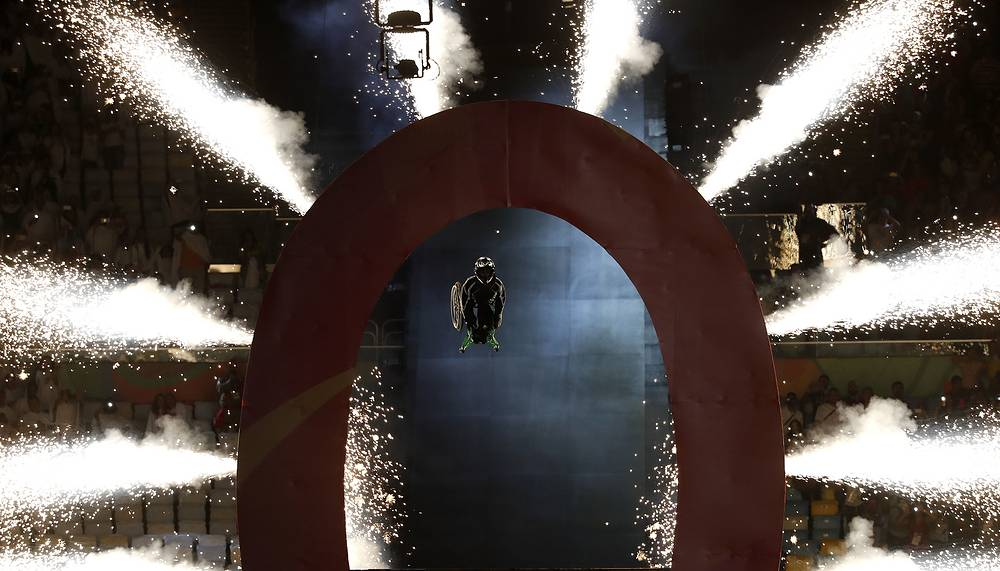 Wheelchair extreme athlete Aaron 'Wheelz' Fotheringham somersaults through a giant O, after speeding down a ramp, signaling the opening ceremony of the Rio 2016 Paralympic Games in Rio de Janeiro, Brazil, September 7
