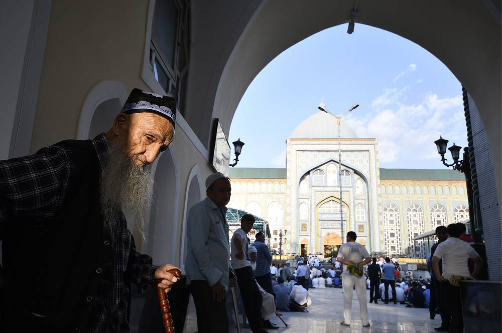 A mass prayer on Eid al-Adha, also known as the Feast of the Sacrifice in the Dushanbe Central Mosque, Tajikistan