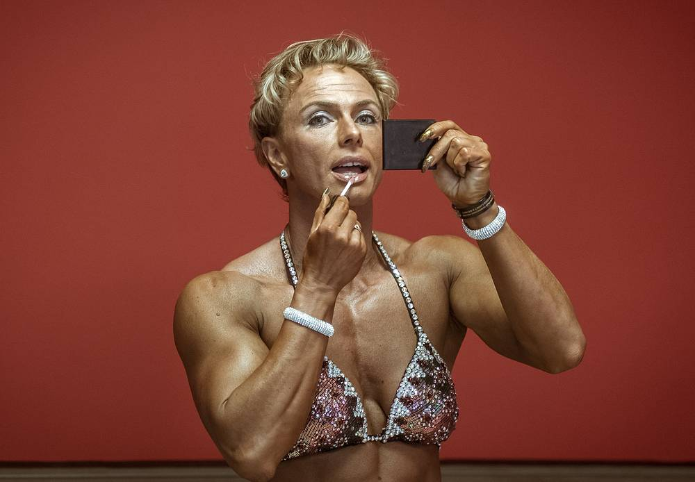 A contestant preparing for the 2016 Russia Bodybuilding and Fitness open championship, Ekaterinburg, Russia, October 22