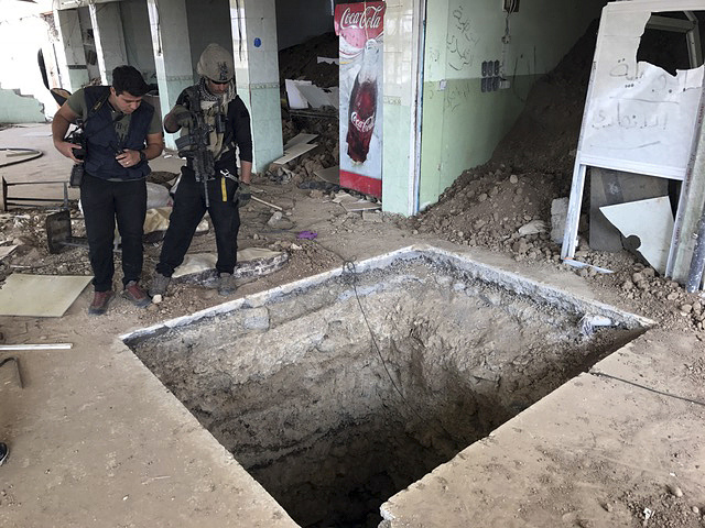 An underground tunnel made by Islamic State militants in Bartella, Iraq, 27 October, 2016. The town of Bartella in northern Iraq lays about 20 kilometres east of Mosul