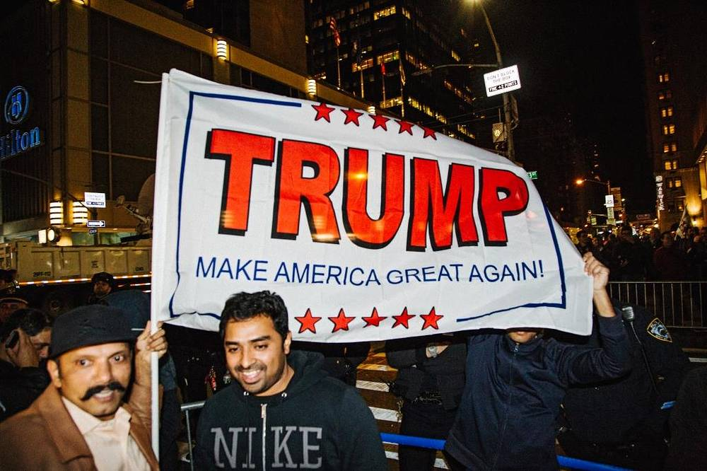 Supporters of Donald Trump outside Hilton Midtown, in New York