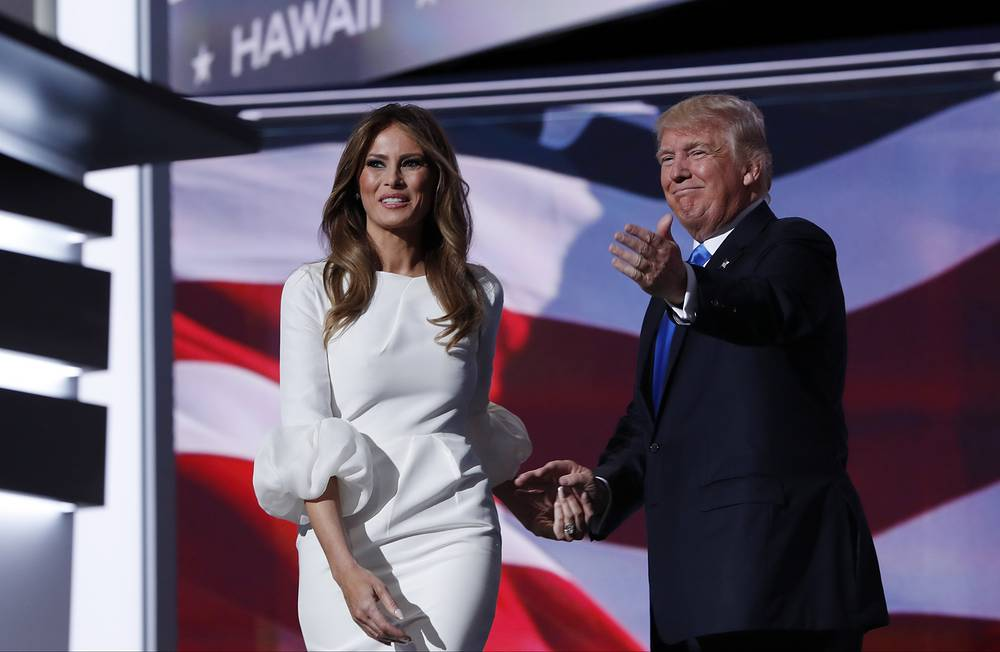 Melania Trump walks to the stage as Donald Trump introduces her during the opening day of the Republican National Convention in Cleveland, July 18, 2016