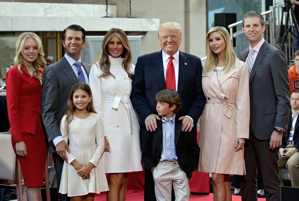 Donald Trump with his wife Melania, son Eric Trump, daughter Ivanka Trump, Donald Trump Jr., daughter Tiffany and grandchildren Kai Trump and Donald Trump III at the Today Show in Rockefeller Plaza in New York, USA, April 21, 2016