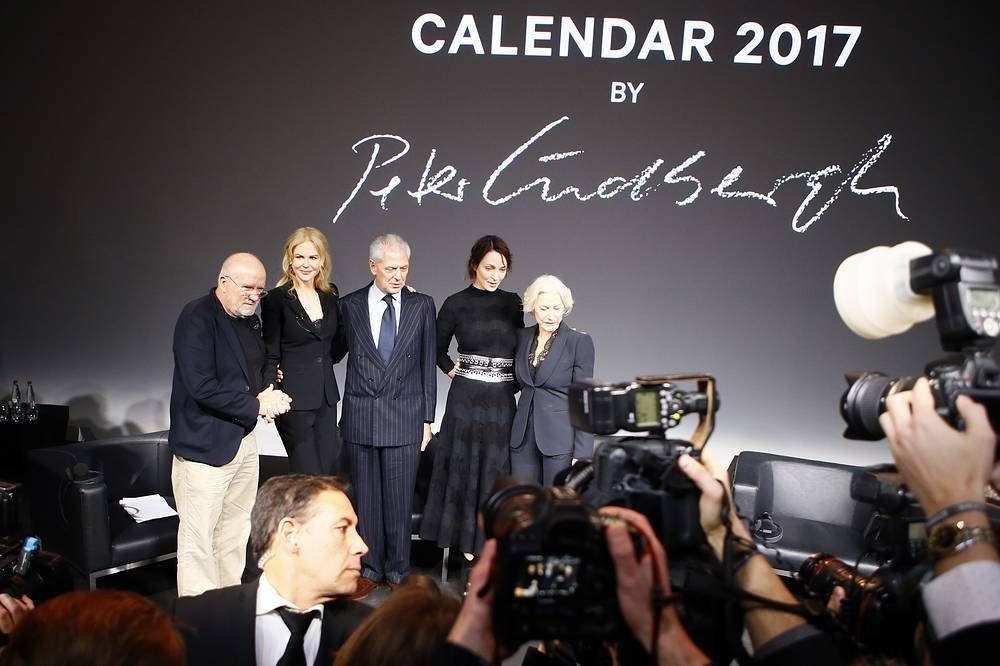 Photographer Peter Lindbergh, Nicole Kidman, CEO Pirelli Group Marco Tronchetti Provera, Uma Thurman and Helen Mirren