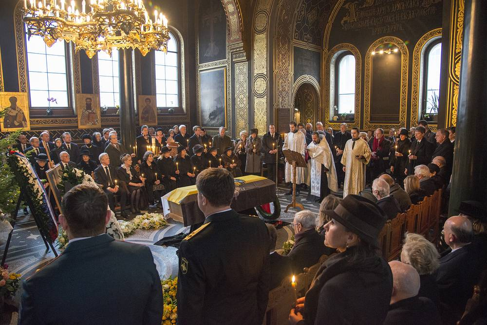 Members of the House of Romanov during a funeral service for Prince Dimitri Romanov at the Russian Orthodox Church of St Alexander Nevsky in Copenhagen
