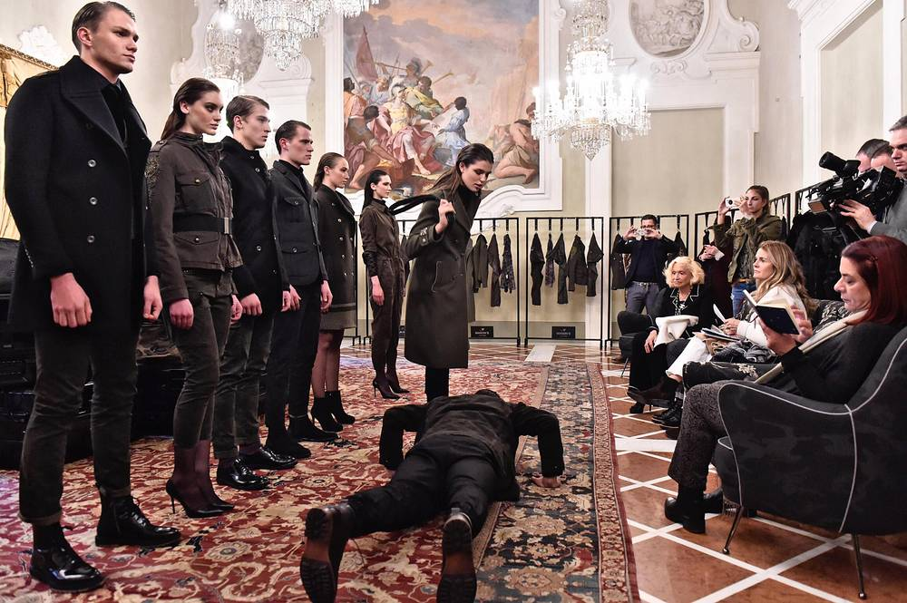 Models present creations by Mason's during the 91st Pitti Immagine Uomo in Florence, Italy, January 11