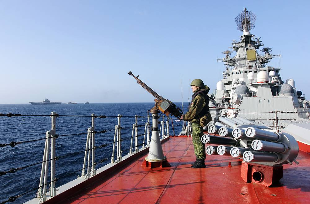A serviceman on Russia's nuclear powered Kirov Class battleship Pyotr Veliky (Peter the Great) on its way to the Mediterranean Sea, October 28, 2016