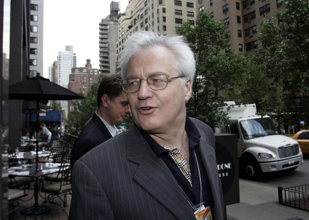 Vitaly Churkin leaving an informal meeting of the members of UN Security Council at the offices of the British Mission to United Nations in New York, 2006