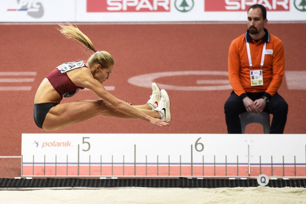 Russia's Darya Klishina competes in the women's long jump qualifications at the 2017 European Athletics Indoor Championship, Belgrade, Serbia, March 4
