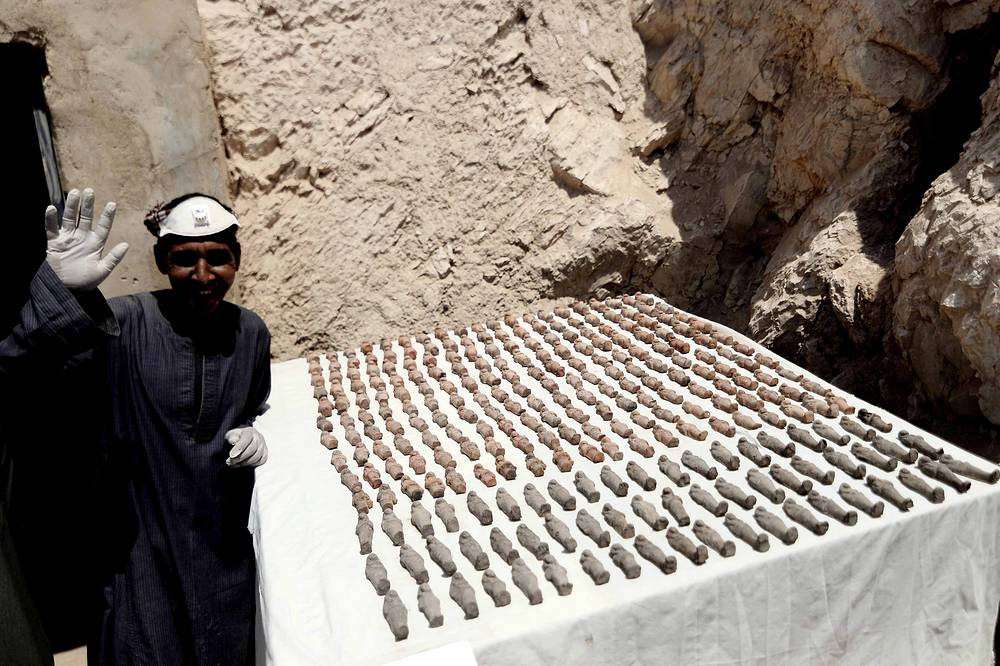 Ushabti figurines recently discovered in tomb at the Dra' Abu el-Naga' necropolis in Luxor's West Bank, Egypt