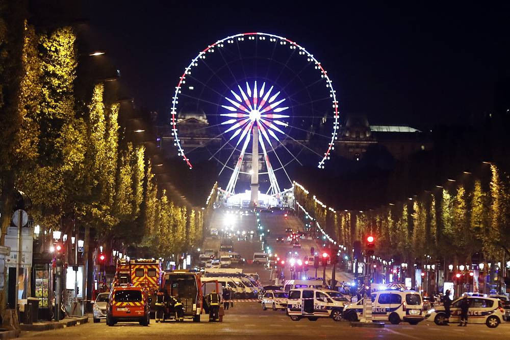 The Champs Elysee Avenue is blocked during ongoing police operations after a shooting in which two police officers were killed in a terror attack near the Champs Elysees in Paris, France, April 20