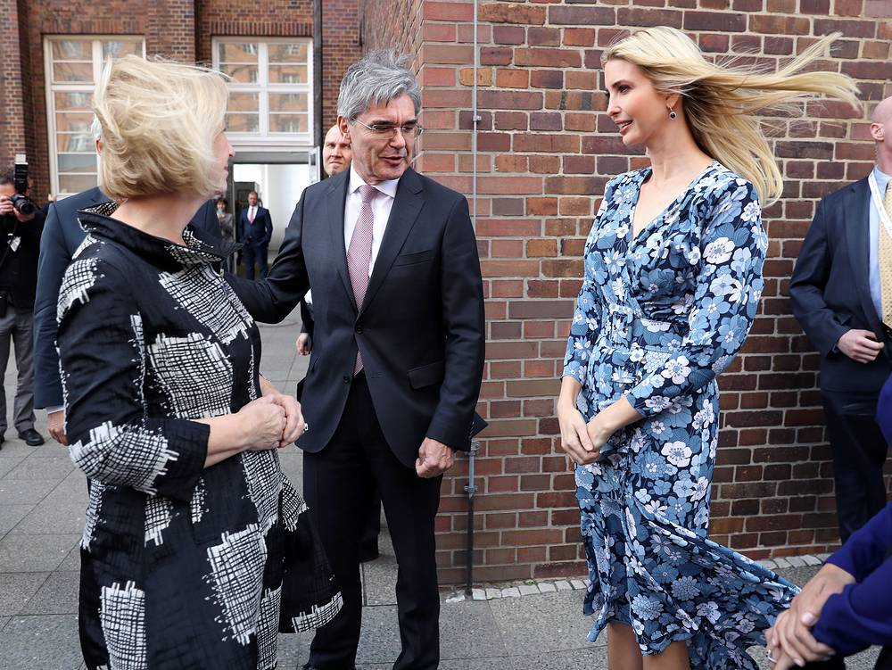 Ivanka Trump meets CEO of Siemens Joe Kaeser at the Siemens mechantronic factory