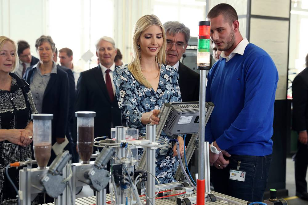 Ivanka Trump visited the Siemens training center before attending an evening gala dinner at Deutsche Bank
