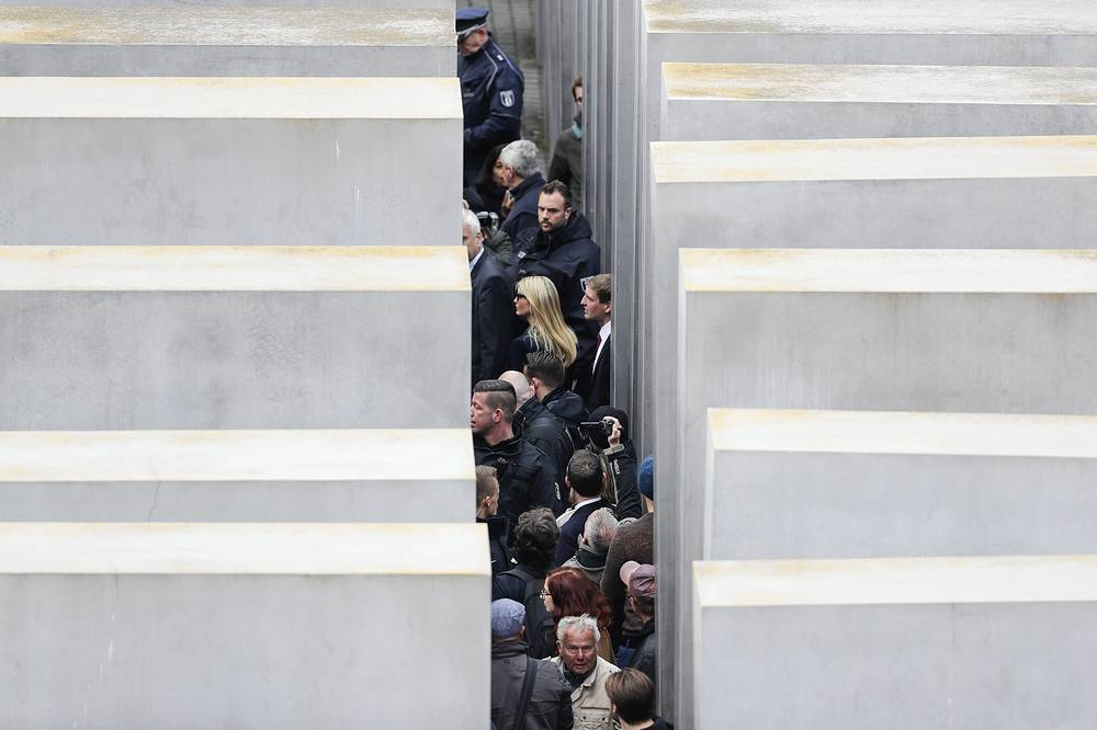 Ivanka Trump is surrounded by police and security as she visits the Memorial to the Murdered Jews of Europe, at the Holocaust Memorial in Berlin, Germany, April 25