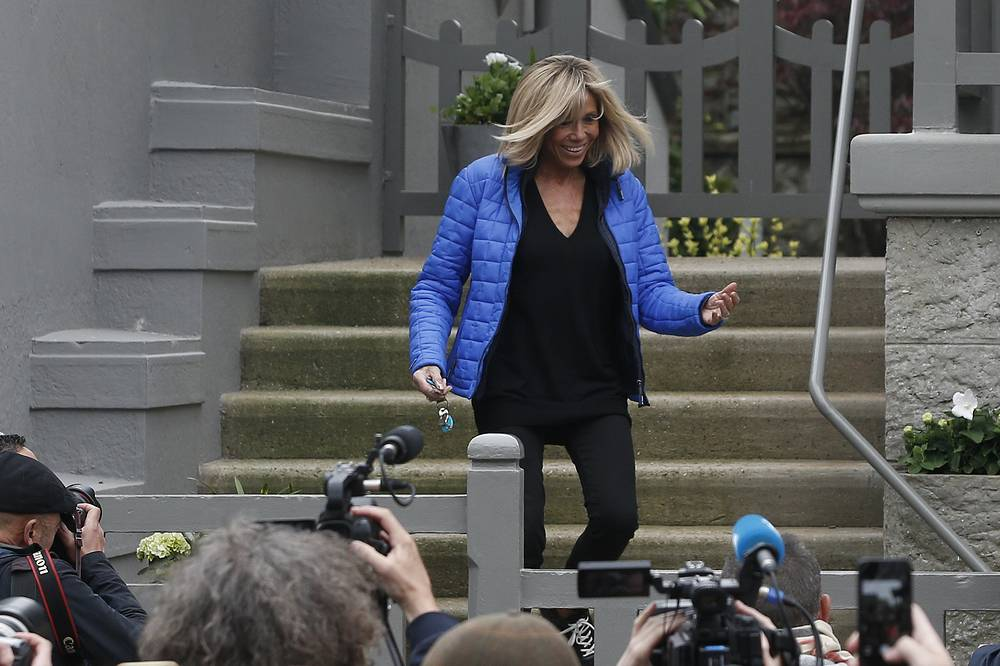 Emmanuel Macron's wife, Brigitte, leaves her house, in Le Touquet, northern France, May 6, 2017